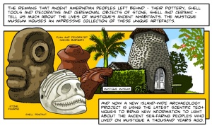 "Public outreach for the rich and famous - panel from the ""Archaeology on Mustique"" comic (2014)"